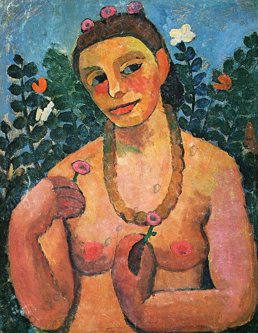 Self-Portrait, Nude with Amber Necklace Half-Length II