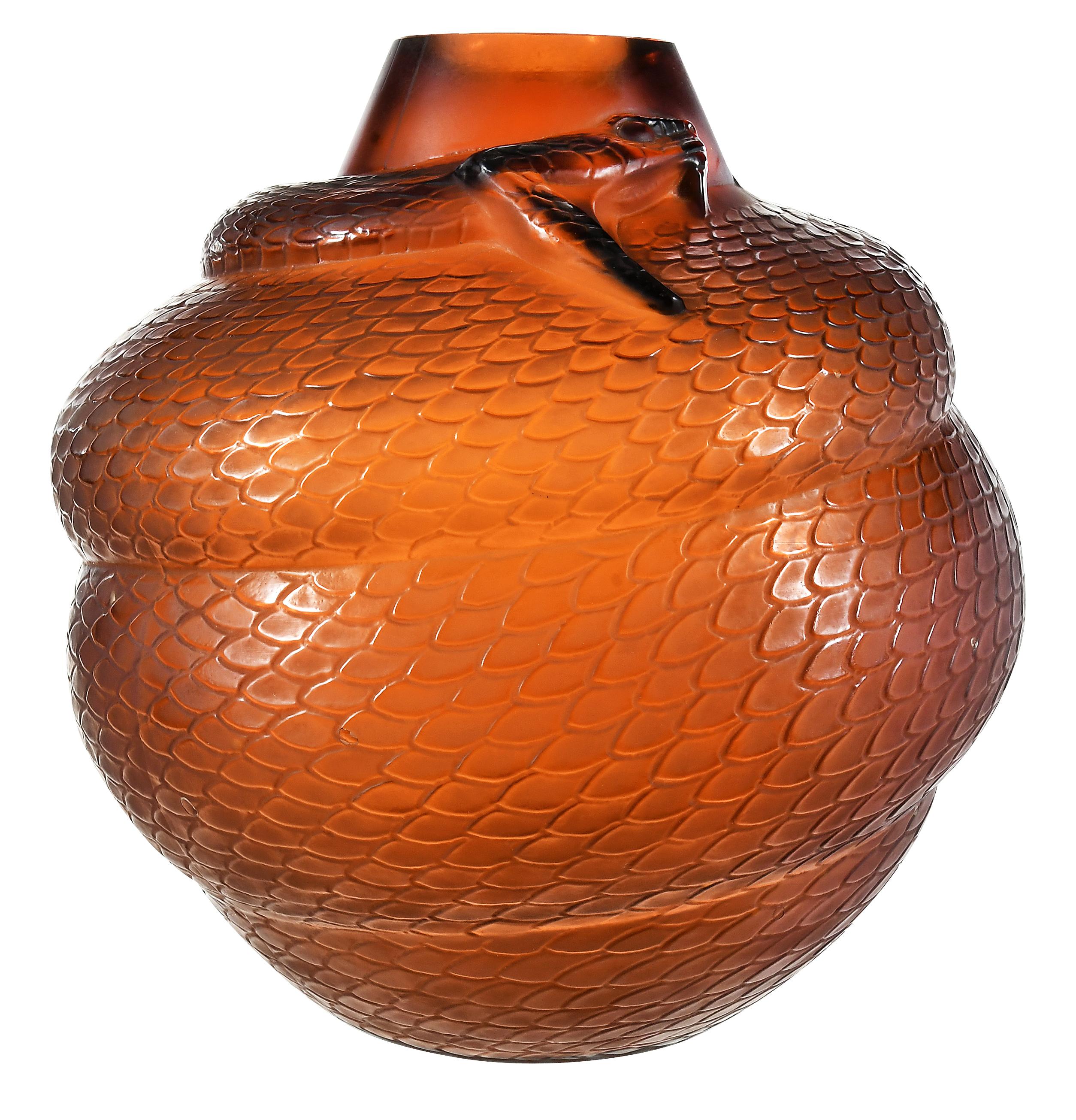 Serpent Amber Glass Vase