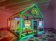 Alex Da Corte, Rubber Pencil Devil, 2018. a house made of neon lights