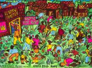 Aminah Brenda Lynn Robinson colorful painting of black children hunting for easter eggs