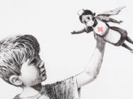 banksy drawing of a child playing with a nurse doll