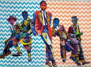 Bisa Butler quilted painting portrait of 5 young black boys depicted in bright colored fabrics