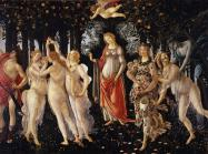 Sandro Botticelli, Primavera, or Allegory of Spring, painting of nine figures in a grove of trees