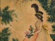 Watercolor Painting of woman with flowers