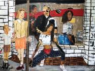 Brandon Landers painting of a group of people in front of a store window