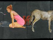 painting of a young woman in pink leotard crouching beside a coyote