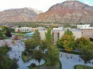 BYU campus with mountains in background