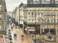 Camille Pissarro painting of a Paris street in the rain