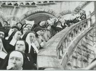 Henri Cartier-Bresson black and white photograph on nuns lining a staircase
