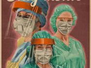 "covid-19 propaganda-inspired poster, image of 3 healthcare workers in PPE, with text ""for you! for them! for us! victory begins at home"""