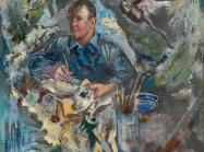 Self Portrait by George Grosz: Man surrounded by smeared colors and shapes