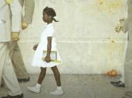 Normal Rockwell painting of black girl being walked to school by marshals while crowd throws rotten vegetables