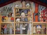 "Diego Rivera, Making a fresco, 1931. Mural at ""Diego Rivera Gallery"", San Francisco Arts Institute."