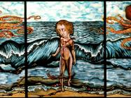 Judith Schaechter triptych stained glass with a nude woman in front of the sea at the center and orange octopi on either side of her