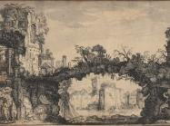 Jan van de Velde drawing of a natural bridge and building ruins