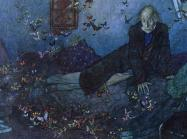 man in dark, blue, twilight room. Empty, open boxes are scattered throughout and butterflies are everywhere.
