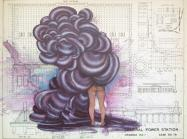 Firelei Báez painting onto top of an architectural drawing, showing a nude figure from behind, only the lower half of the their body visible, the top half is engulfed in billowing abstract black smoke