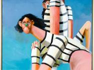 George Condo painting of two figures in stripped bathing suits