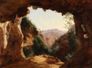 painting of Grotto in a Rocky Landscape by Louise-Joséphine Sarazin de Belmont,