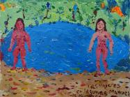 colorful Manuel Guzman painting of two nude figures beside a blue lake
