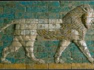 Reconstructed panel of bricks with a striding lion Neo-Babylonian Period; Processional Way, El-Kasr Mound, Babylon, Iraq.