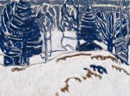 David Milne landscape painting showing white show with blue trees