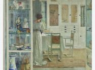 a woman stands in a bright, white interior. painted in the impressionist style