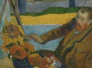 Paul Gauguin painting of Vincent van Gogh at his easel with a vase of sunflowers