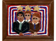 Elijah Pierce bas-relief wood carving showing MLK, JFK, and Bobby Kennedy