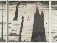 Robyn O'Neil black and white drawing of an alien landscape