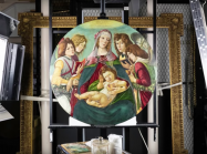 Botticelli painting on under light in conservation lab
