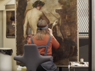 Alice Tate-Harte as she works to restore Titian's 'Orpheus Enchanting the Animals'