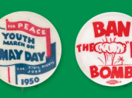 two anti-war buttons on a gree background