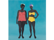 Amy Sherald painting of two black women in bathing suits standing against a blue background