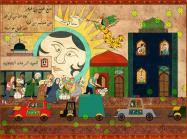 Dana Al Rashid painting of a city scene with a large face behind it