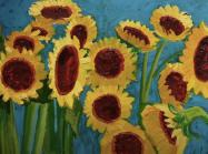 close up view of sunflower painting