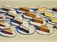 Wayne Thiebaud painting of several rows of different pie slices on white plates