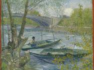 Van Gogh painting of two small fishing boats on a river in spring with a bridge in the background