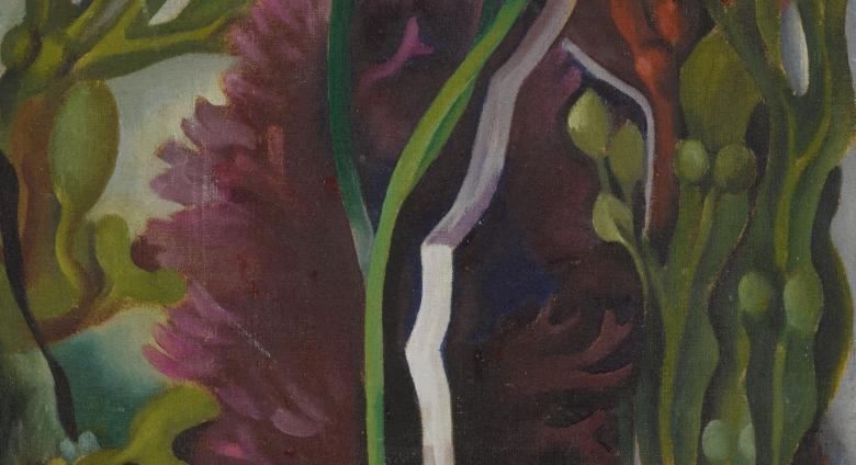 Georgia O'Keeffe's small, square oil on canvas titled Seaweed, organic forms in purple and green with white streak up the middle