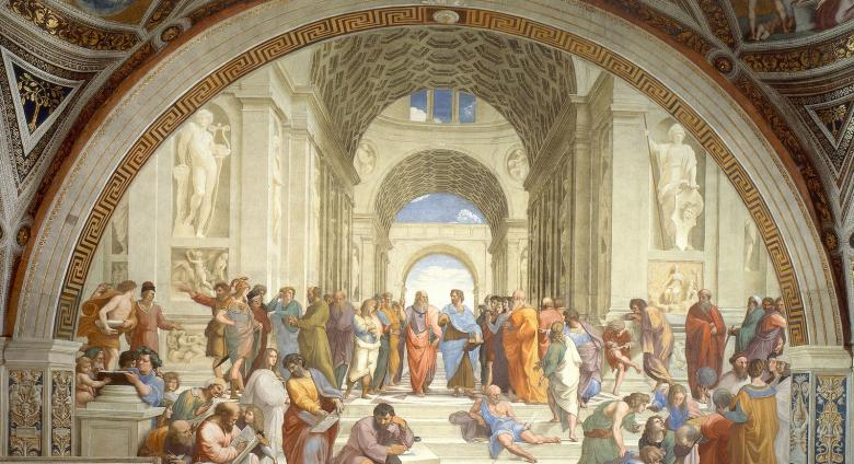 The School of Athens, this fresco will be featured again with more detail for screen-readers later in this slideshow