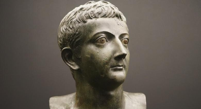bust of young Tiberius in bronze