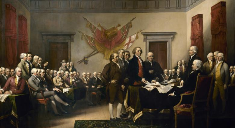 John Trumbull large-scale painting of the Declaration of Independence, showing a room full of older white men in black coats
