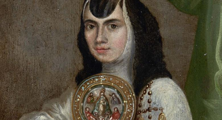 Detail of Portrait of Sor Juana Ines de la Cruz at the age of 25, Inscription in Latin: Ætatis sua 25.