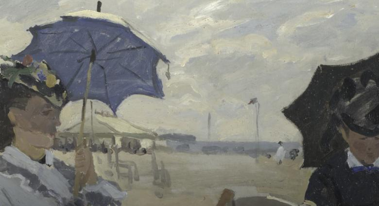 Detail woman and man on beach woman holding umbrella