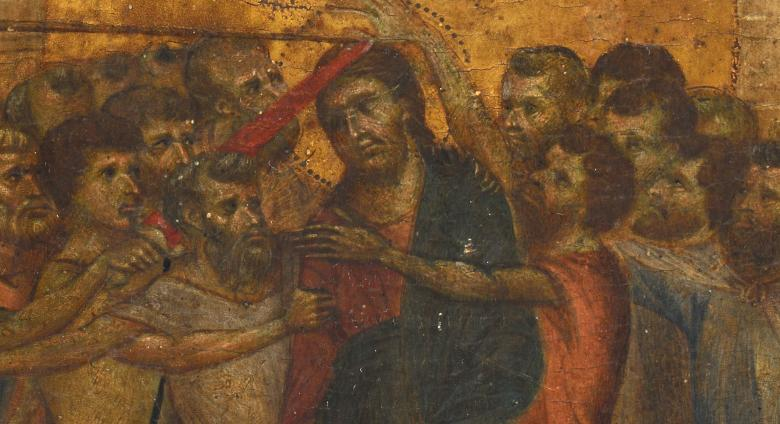 Cimabue, Christ Mocked (detail), c.1280.