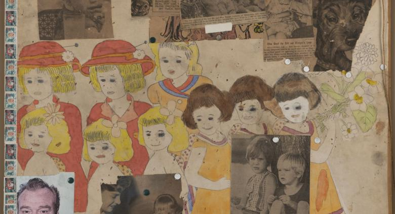 Henry Darger collage with drawing of little girls and photos