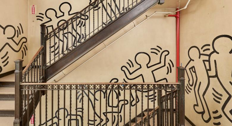 Keith Haring's monumental 85-foot mural, Untitled (The Church of the Ascension Grace House Mural), circa 1983/1984.
