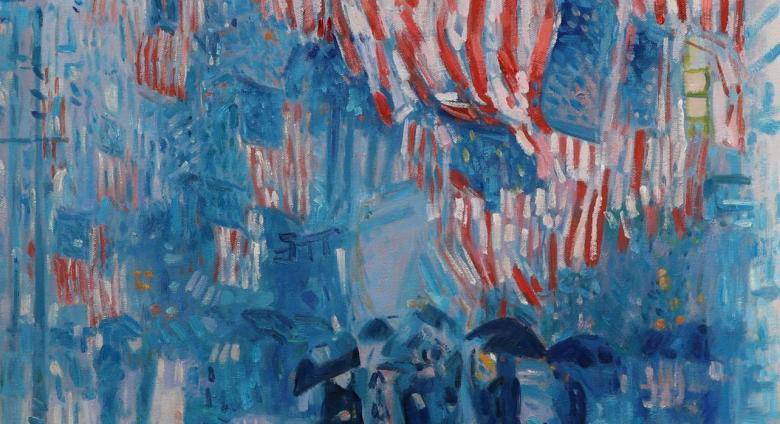 detail of Childe Hassam painting of american flags on a rainy street