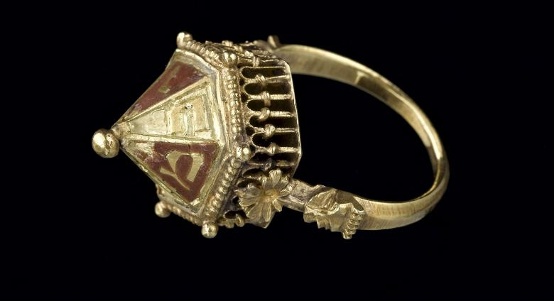 Jewish ceremonial wedding ring, from the Colmar Treasure, ca. 1300– before 1348.