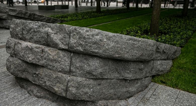 One of six stone monoliths at the 9/11 Memorial Glade
